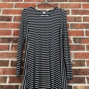 Old Navy black and white striped skater dress